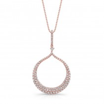 14k Rose Gold White Diamond Dangling Circle Pendant