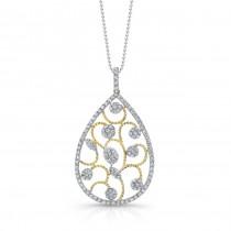 18k White and Yellow Gold Diamond Vine Pendant