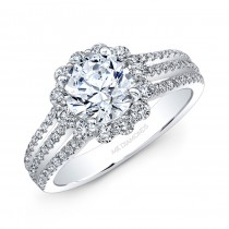 18k White Gold White Diamond Halo Split Prong Engagement Ring