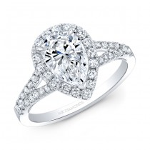 14k White Gold Complete Diamond Engagement Ring