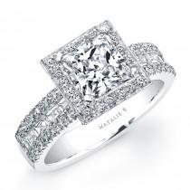 18k White Gold Halo Diamond Baguette Engagement Semi Mount Ring NK18853-W