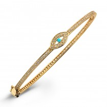 14k Yellow Gold Diamond Turquoise Evil Eye Bangle