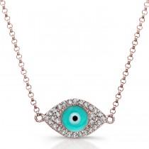 14k Rose Gold Diamond Light Blue Enamel Evil Eye Chain Necklace