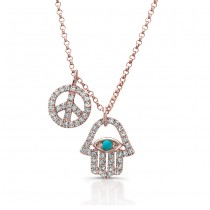14k Rose Gold Diamond Turquoise Hamsa Peace Necklace
