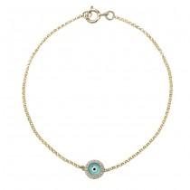 14k Yellow Gold Diamond Light Blue Enamel Evil Eye Chain Bracelet