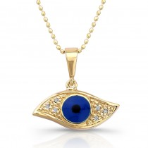 14k Yellow Gold Diamond Evil Eye Pendant