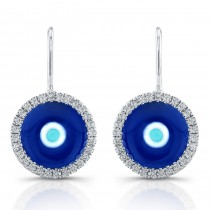 14k White Gold Enamel Evil Eye Diamond Earrings
