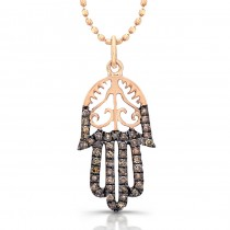 14k Rose Gold Diamond Vintage Design Hamsa Pendant