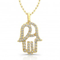 14k Yellow Gold Diamond Hamsa Pendant