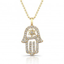 14k Yellow Gold Star of David Hamsa Pendant