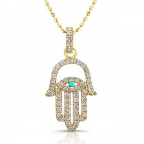 14k Yellow Gold Diamond Hamsa Evil Eye Pendant
