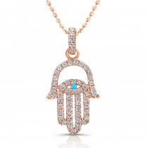 14k Rose Gold Diamond Hamsa Evil Eye Pendant