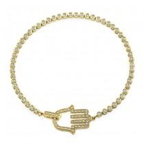 14k Yellow Gold Diamond Hamsa Tennis Bracelet