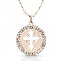 14k Rose Gold Diamond Cut-Out Cross Disk Pendant