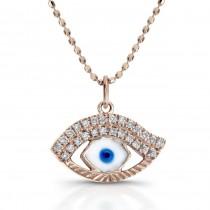14k Rose Gold Enamel Evil Eye Diamond Pendant