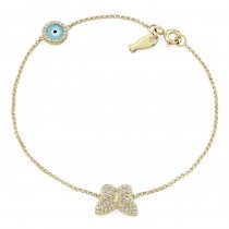 14k White Gold Butterfly Fish and Evil Eye Diamond Bracelet