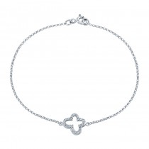 14k White Gold Pave Diamond Butterfly Bracelet