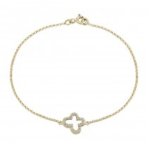 14k Yellow Gold Pave Diamond Butterfly Bracelet
