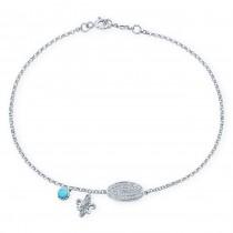 14k White Gold Pave Fleur De Lys Diamond Bracelet