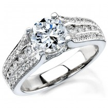 18k White Gold Diamond Engagement Semi Mount Ring NK12076-W