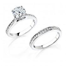 14k White Gold Classic Pave Channel Diamond Bridal Ring Set NK12110WE-W