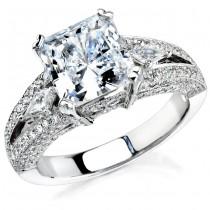 14k White Gold Three Stone Kite Diamond Engagement Semi Mount Ring NK12117-W