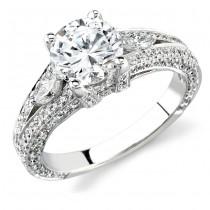 14k White Gold Three Stone Marquise Diamond Engagement Semi Ring NK12184-W