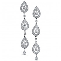 14k White Gold Pave Prong Droplet Diamond Earrings - NK13281-W