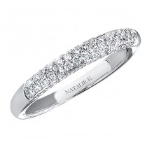 14k White Gold Micro Pave Two Row Diamond Ladies Band - NK13387-W(A)