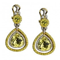 14k Yellow and White Gold Diamond, Lemon Quartz and Yellow Sapphire Earrings NK13420LQ-YW