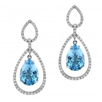 18k White Gold Framed Blue Topaz Diamond Earrings - NK13427BTPZ-W