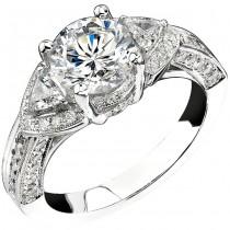 14k White Gold Three Stone Trapezoid Diamond Engagement Semi Mount NK13973-W