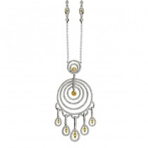 14k White and Yellow Gold Golden Marquise Chandelier Necklace - NK14049GD-WY