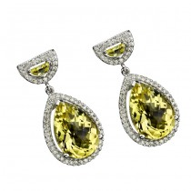 18k Yellow Gold Half Moon Lemon Quartz Earrings - NK14826LQ-W