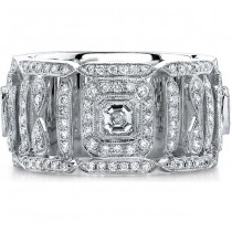 14k White Gold Pave Bezel Asscher Diamond Fashion Ring - NK15039W