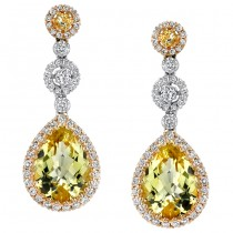 18k White and Yellow Gold Lemon Quartz Drop Earrings - NK15166MC-WY