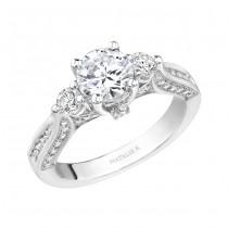14k White Gold Three Stone Diamond Engagement Ring NK15224-W