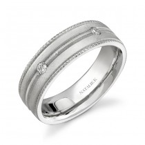 14k White Gold Five Stone Prong Diamond Men's Band - NK15513-W
