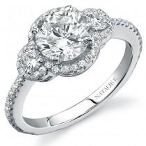 14k White Gold Halo Three Stone Diamond Engagement Ring NK15982-W