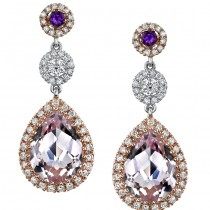 18k White and Rose Gold Pink Amethyst and Diamond Earrings - NK16219PKAM-WR