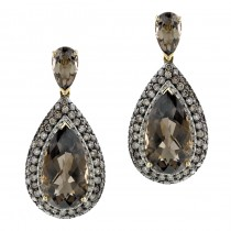 14k Yellow Gold Smokey Quartz and Brown Diamond Drop Earrings NK16723SQ-Y