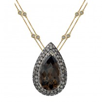 14k Yellow Gold Smokey Quartz and Brown Diamond Pendant NK16724SQ-Y