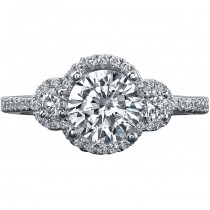 18k White Gold Three Stone Halo Diamond Engagement Semi Ring NK16963-W