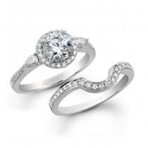 14k White Gold Three Stone Classic Diamond Bridal Ring Set NK16964WE-W
