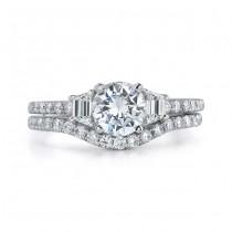 14k White Gold Three Stone Trapezoid Diamond Bridal Ring Set NK17081WE-W