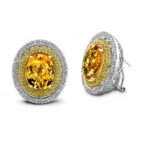 14k White Gold Citrine and Diamond Halo Earrings NK17633CT-W