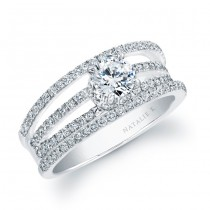 18k White Gold Split Shank Pave Diamond Semi Mount Engagement Ring NK17707-W