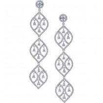 18k White Gold Pear Shaped Diamond Chandelier Earrings - NK18029-W