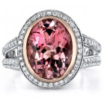 14k White Gold Split Shank Pink Tourmaline Diamond Ladies Ring - NK18061PNKT-W