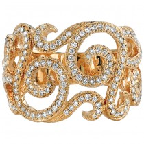 18k Yellow Gold Diamond Swirl Fashion Band NK18540-Y